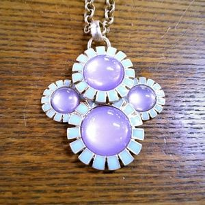 New Coldwater Creek Enamel Stone Flowers Necklace